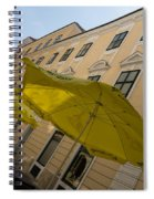 Vienna Street Life - Cheery Yellow Umbrellas At An Outdoor Cafe Spiral Notebook