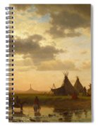 View Of Chimney Rock Ohalila .sioux Village In The Foreground Spiral Notebook