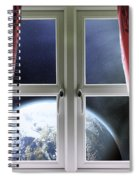View Of The Earth Through A Window With Curtains Spiral Notebook