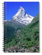 View Of The Matterhorn And The Town Spiral Notebook