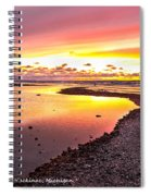 View Opposite Of Mackinac Bridge From Mcgulpin Point At Sunset. Spiral Notebook