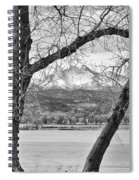 View Through The Trees To Longs Peak Bw Spiral Notebook