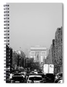 View Up The Champs Elysees Towards The Arc De Triomphe In Paris France  Spiral Notebook