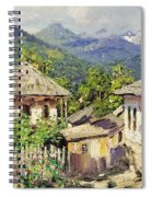 Village Scene In The Mountains Spiral Notebook
