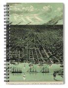 Vintage 1889 Detroit Michigan Map Spiral Notebook