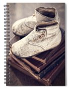 Vintage Baby Boots And Books Spiral Notebook