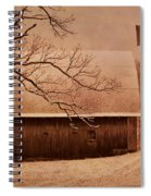 Vintage Barn And Windmill Winter Spiral Notebook