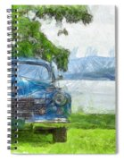 Vintage Blue Caddy At Lake George New York Spiral Notebook