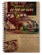 Vintage Car Advertisement 1939 Oldsmobile On Worn Faded Paper Spiral Notebook
