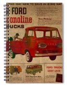 Vintage Car Advertisement 1961 Ford Econoline Truck Ad Poster On Worn Faded Paper Spiral Notebook