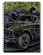 Vintage Chevy Corvette Black Neon Automotive Artwork Spiral Notebook