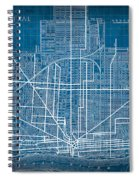 Vintage Detroit Rail Concept Street Map Blueprint Plan Spiral Notebook
