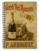 Vintage French Poster Andrieux Wine Spiral Notebook
