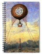 Vintage Hot Air Balloon Over Eiffel Tower Spiral Notebook