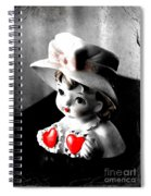 Vintage Lady Head Vase - Black And White With Red Spiral Notebook