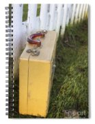 Vintage Luggage Left By A White Picket Fence Spiral Notebook