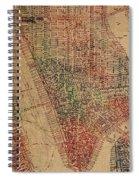 Vintage Manhattan Street Map Watercolor On Worn Canvas Spiral Notebook