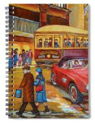 Vintage Montreal-st.catherine And Union-couples And Streetcars Spiral Notebook