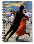 Vintage Poster Couples Skating At Christmas On Frozen Pond Spiral Notebook