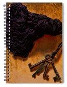 Vintage Skeleton Keys Tassled Gold Spiral Notebook
