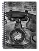 Vintage Telephone In Black And White  Spiral Notebook