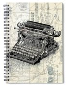 Vintage Typewriter French Letters Square Format Spiral Notebook