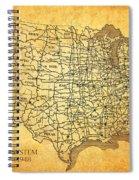 Vintage United States Highway System Map On Worn Canvas Spiral Notebook