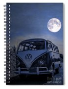 Vintage Vw Bus Parked At The Beach Under The Moonlight Spiral Notebook