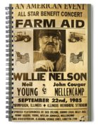 Vintage Willie Nelson 1985 Farm Aid Poster Spiral Notebook