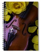 Violin With Yellow Rose Spiral Notebook
