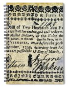 Virginia Banknote, 1781 Spiral Notebook