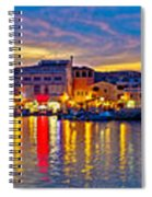 Vodice Waterfront Colorfu Evening Panorama Spiral Notebook