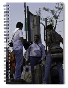 Waiting At The Top Of The Steps Next To The Dal Lake In Srinagar Spiral Notebook