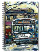 Waiting For The 80 Bus Montreal Memories Winter City Scene Painting January Art Carole Spandau Art Spiral Notebook