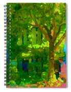 Walk In The City Past Blue Houses Staircases And Shade Trees Montreal Summer Scene Carole Spandau Spiral Notebook