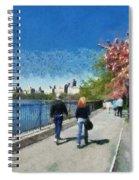 Walking Around Reservoir In Central Park Spiral Notebook