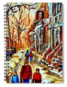 Walking The Dog By Balconville Winter Street Scenes Art Of Montreal City Paintings Carole Spandau Spiral Notebook