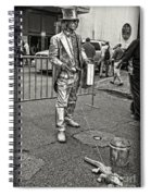 Walking The Gator On Bourbon St. Nola Black And White Spiral Notebook