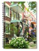 Walking Verdun In Summer Winding Staircases And Pathways Urban Montreal City Scenes Carole Spandau Spiral Notebook