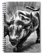 Wall Street Bull Black And White Spiral Notebook