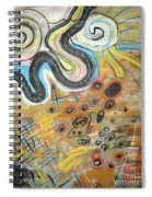 Wandering In Thought2 Original Abstract Colorful Landscape Painting For Sale Yellow Blue Green Spiral Notebook