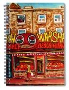 Warshaw's Bargain Fruit Store Rue St Laurent Montreal Paintings City Scene Art Carole Spandau Spiral Notebook