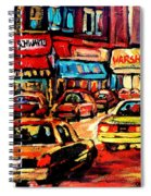 Warshaw's Bargain Fruits Store Montreal Night Scene Jewish Montreal Painting Carole Spandau Spiral Notebook