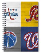 Washington Dc Sports Fan Recycled Vintage License Plate Art Capitals Redskins Wizards Nationals Spiral Notebook