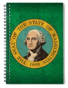 Washington State Flag Art On Worn Canvas Spiral Notebook