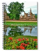 Wat Mahathat Reflection In 13th Century Sukhothai Historical Park-thailand Spiral Notebook