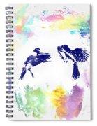 Water Color Bird Fight Spiral Notebook
