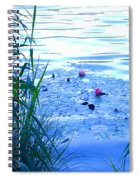 Water Lilies Blue Spiral Notebook