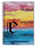 Watercolor E And Serenity Prayer Spiral Notebook