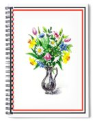 Watercolor Flowers Bouquet In Metal Pitcher Impressionism Spiral Notebook